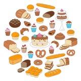 Collection de boulangerie et de pâtisserie, illustrations de vecteur de griffonnage d'isolement sur le blanc Photographie stock