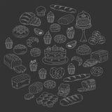 Collection de boulangerie et de pâtisserie, illustrations de vecteur de griffonnage d'isolement sur le blanc Photographie stock libre de droits