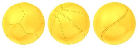Collection de boules d'or d'isolement sur le fond blanc Photos libres de droits