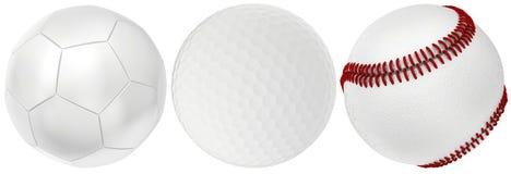 Collection de boules d'isolement sur le fond blanc Photos stock