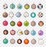 Collection de boules de Noël de griffonnage Images stock