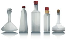 Collection de bouteilles en verre vide illustration de vecteur