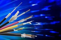 Collection de câble à fibres optiques de fibre Photographie stock libre de droits