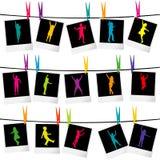 Collection de cadres de photo avec des silhouettes d'enfants Photographie stock