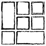 Collection de cadres grunges d'encre rectangulaire, ensemble de frontières Boîte tirée par la main carrée pour le texte avec les  illustration libre de droits