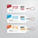 Collection de calibre de carte de papier de prix à payer de bannières de vente Vecteur Image libre de droits
