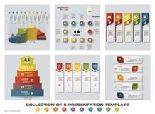 Collection de 6 calibres colorés de présentation de conception EPS10 Ensemble d'icônes de vecteur et d'affaires de conception d'i Photographie stock