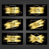 Collection de 6 calibres de carte de vintage avec des traçages d'or Photo stock