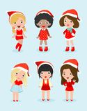 Collection de caractères de filles de Noël, de femme de Santa, de personnes et de Noël illustration de vecteur
