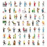 Collection de caractères de personnes Professions réglées de bande dessinée différentes dans diverses poses Danseur, homme d'affa illustration libre de droits