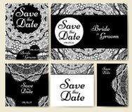 Collection de carte de mariage avec le mandala Calibre de carte d'invitation Conception décorative d'invitaion de salutation avec Photographie stock