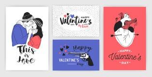 Collection de carte de voeux de jour de Valentine s, d'invitation de partie ou de calibres d'insecte avec de jeunes couples de ba Images libres de droits