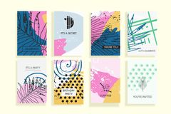 Collection de cartes à la mode universelles créatives Photos stock