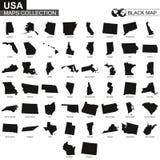 Collection de cartes d'états des Etats-Unis, cartes de découpe noires d'état d'USA illustration de vecteur