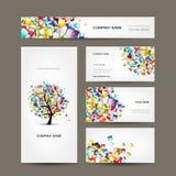 Collection de cartes de visite professionnelle de visite avec la conception d'arbre de Web illustration stock