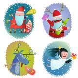 Collection de cartes de voeux de vacances d'hiver de Noël ou de nouvelle année avec Santa Deer et l'ange Photographie stock