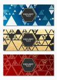 Collection de cartes de luxe élégantes pour votre conception Dessin géométrique Triangles d'or chaotiques Scintillements d'or Car illustration stock