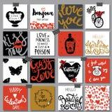 Collection de cartes romantiques tirées par la main Backgro de Saint-Valentin Image stock