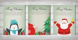 Collection de cartes de voeux de Joyeux Noël Noël réglé avec Santa et d'autres caractères Vecteur illustration stock