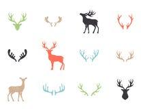Collection de cerfs communs - silhouette de vecteur Photos stock