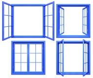 Collection de châssis de fenêtre bleus d'isolement sur le blanc Photographie stock libre de droits