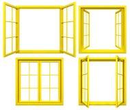 Collection de châssis de fenêtre jaunes sur le blanc Photographie stock