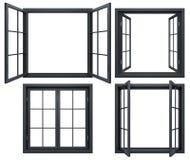 Collection de châssis de fenêtre noirs d'isolement sur le blanc Photos libres de droits