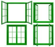 Collection de châssis de fenêtre verts d'isolement sur le blanc Image libre de droits