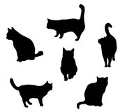 Collection de chats - silhouette de vecteur Images stock