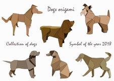 Collection de chiens dans le style d'origami Le symbole stylisé de l'année 2018 illustration stock