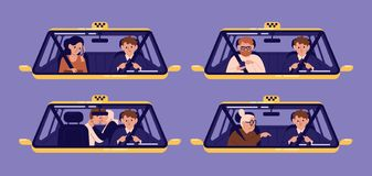 Collection de clients de taxi ou clients et conducteur dans le pare-brise vu par cabine Paquet de personnes à l'aide de l'automob illustration stock