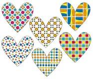 Collection de coeur avec le modèle coloré différent illustration de vecteur