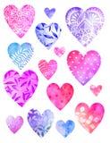 Collection de coeurs décoratifs d'aquarelle Photos stock