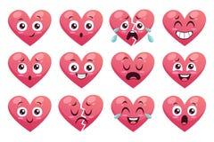 Collection de coeurs drôles d'émoticône Images libres de droits