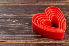 Collection de coeurs et d'espace rouges de copie Photos stock