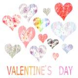 Collection de coeurs peints dans l'aquarelle pour Vale Photographie stock libre de droits