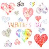 Collection de coeurs peints dans l'aquarelle pour Vale Photo libre de droits