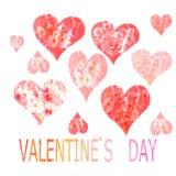 Collection de coeurs peints dans l'aquarelle pour Vale Image libre de droits