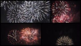 Collection de collage de clips vidéo de feux d'artifice clips vidéos