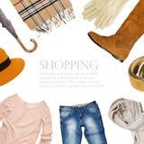 Collection de collage de vêtements chauds u Photographie stock libre de droits