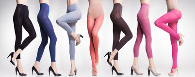 Collection de collants et de bas colorés sur les jambes de femme Image libre de droits