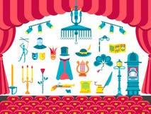 Collection de conception d'articles d'icônes de théâtre Intérieur de représentation avec tout ensemble d'éléments Drame de divert illustration stock