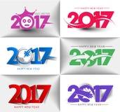 Collection de conception des textes de la bonne année 2017 Photo stock