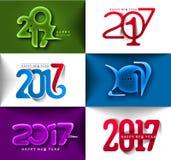 Collection de conception des textes de la bonne année 2017 Images stock