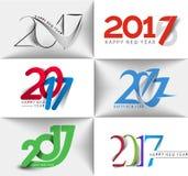 Collection de conception des textes de la bonne année 2017 Photographie stock libre de droits