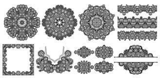 Collection de conception florale ornementale ethnique décorative sans couture illustration stock