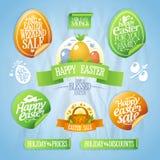 Collection de conceptions et d'autocollants de vente de Pâques. Photo stock