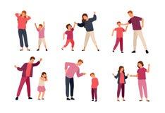 Collection de conflits entre les parents et les enfants d'isolement sur le fond blanc Problème d'agression mutuelle illustration stock