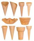 Collection de cornets de crème glacée d'isolement sur le blanc Image libre de droits