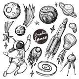 Collection de cosmos graphique Clipart tiré par la main pour l'oeuvre d'art et la conception de weddind illustration libre de droits
